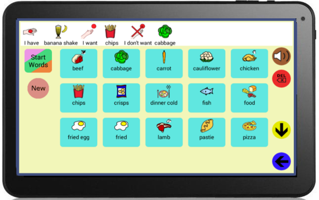 image of the tablet with the quick symbol app
